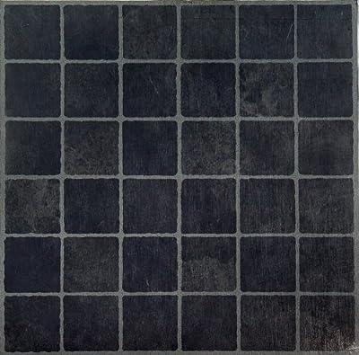 Achim Home Furnishings FTVGM33320 Nexus 12-Inch Vinyl Tile, Geo Dark Slate Checker Board, 20-Pack