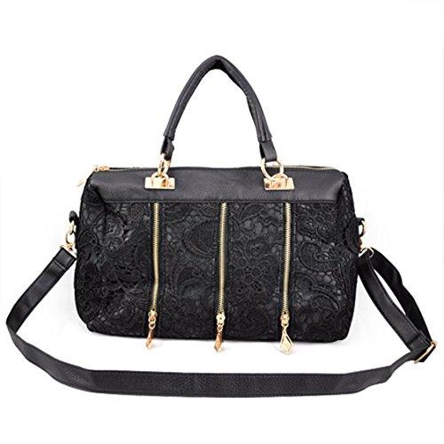 SODIAL (R) Damen Spitzen PU-Leder-Schultertasche, Handtasche, Shopper, schwarz, schwarz