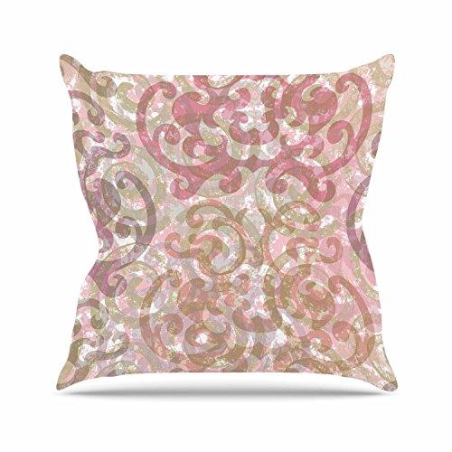 Gold Chintz (Kess InHouse Chickaprint Chintz Gold Pink Outdoor Throw Pillow, 16