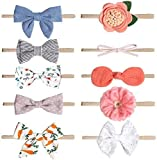 Baby Girl Bow-Stretch Headbands and Bows Flower Hairband Hair Accessories Headwear for Newborn Infant Toddler Gift