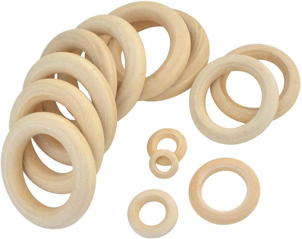 Hmxpls Natural Wood Rings 6 Size Unfinished Wood Circles DIY Accessory Jewelry Making Ring Pendant Connectors