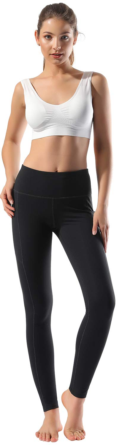Women's High Waist Yoga Pants with Side Pockets & Inner Pocket Tummy Control Workout Running 4-Way Stretch Sports Leggings, Medium by HOFI (Image #2)