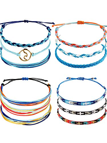 Chuangdi 12 Pieces Wave Strand Bracelet Set Handmade Adjustable Friendship Bracelet Handcrafted Jewelry Women (Style ()