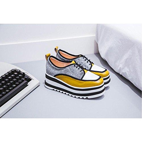 con de KJJDE Serie Hechizo Loafers Plataforma Moda Mujeres A2501 Casual Mujer Color WSXY de Yellow Zapatos Bqf5Uxwfa