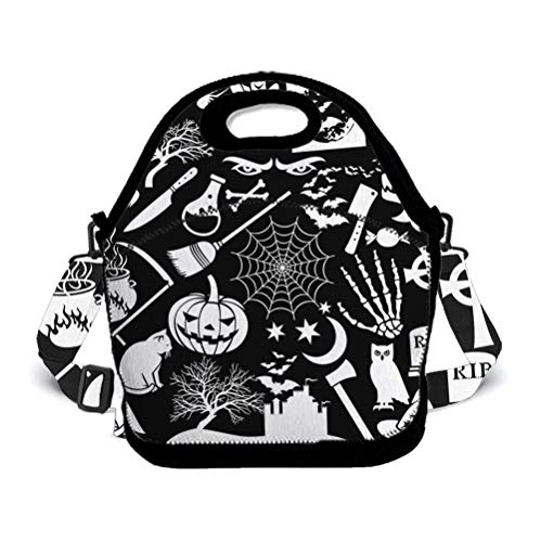 Durable Insulated Lunch Bag - Handle Reusable Meal Zipper Tote Bag with 3D Happy Halloween Party Patterns Printed Strap, Lunch Pack for Campinng, Hiking, Picnic, Autumn tour -