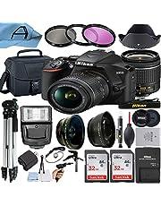 $654 » Nikon D3500 DSLR Camera 24.2MP Sensor with NIKKOR 18-55mm f/3.5-5.6G VR Lens, 2 Pack SanDisk 32GB Memory Card, Bag, Tripod, Slave Flash Light and A-Cell Accessory Bundle (Black)