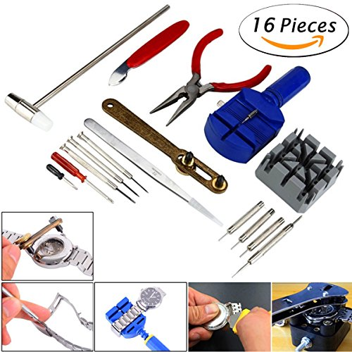 Watch Jewelry Repair Tool Kit, TFSeven Professional 16Pcs Repair Tool Set With Back Opener Band Pin Strap Link Remover with Hammer Screwdrivers Wrench Cutter Spring Bar for Men Women Kids Wristwatch (Useful Links)
