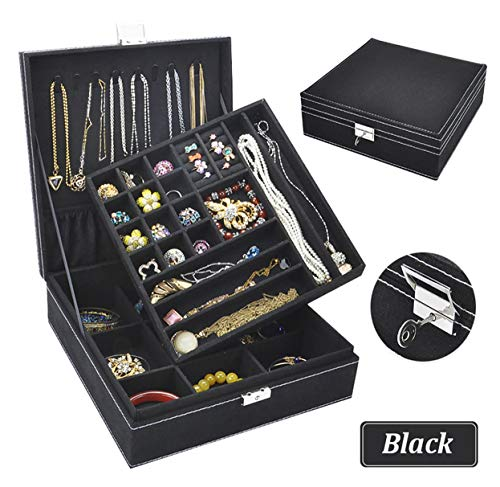 (Jewelry Box for Women, QBeel 2 Layer 36 Compartments Necklace Jewelry Organizer with Lock Jewelry Holder for Earrings Bracelets Rings - Black)