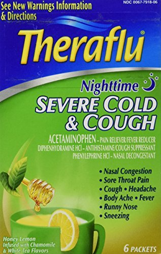 Theraflu Severe Cold & Cough Nighttime Packets Honey Lemon Flavor 6 EA - Buy Packs and SAVE (Pack of 3)