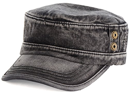 Be Your Own Style BYOS Classic Washed Military Cadet Army Cap Hat Flap Top Various (Washed Black)
