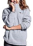 VS Pink Victoria's Secret Pink Sherpa Half Zip Boyfriend Pullover Sweatshirt Light Gray (Small)