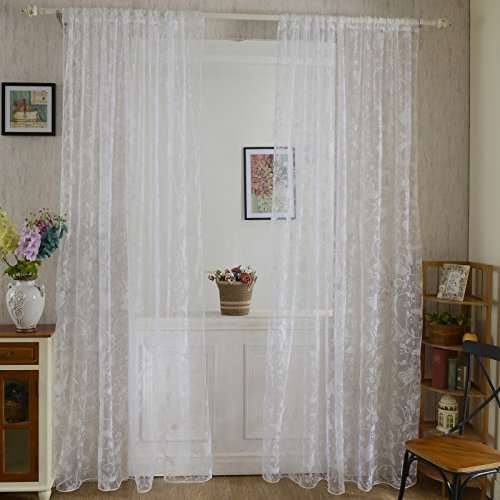 Flocked Sheer - 2Pcs White Door Drape Panel Scarf Sheer Voile Butterfly Flocked Yarn Window Curtain Decal