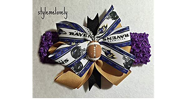 Baltimore Ravens Baby Girl Boutique Bow Crocheted Headband Fits Newborn to Adult