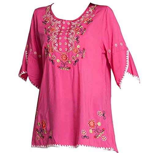 Ashir Aley Bell Sleeve Womens Girls Embroidered Peasant Tops Mexican Bohemian Blouses -
