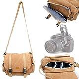 DURAGADGET Light Brown Carry Bag for Canon EOS Rebel T3, EOS Rebel T3i, EOS Rebel T4i, EOS Rebel T5, Rebel T5i, Rebel T6s, Rebel T6i, EOS SL1, EOS M, EOS 60D, EOS 60Da, EOS 70D, 7D & 6D
