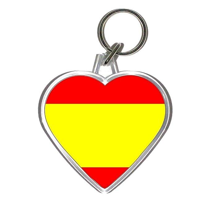 Amazon.com: Bandera de España – Llavero de plástico en forma ...