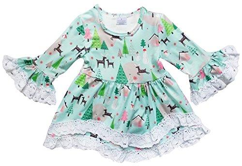 Boutique Christmas Dress (So Sydney Toddler Girls Boho Ruffle Crochet Lace Trim Flare Sleeve Dress (Winter Wonderland, XS)