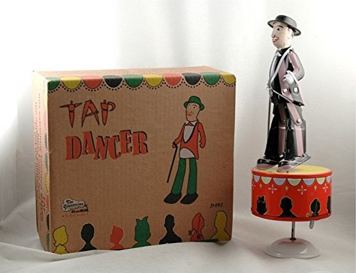 Karmakara Wind-Up Collectible White Tin Toy Tap Dancer With Cane Vintage Collectible Box