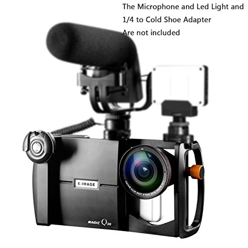 Phone Lens Adapter & Rig System, Ulanzi E-IMAGE Magic Q30 Lens Mount Rig System for Smartphones, Interchangeable Lens, Adjustable Camera Housing, Cold Shoe and Tripod - Kit Image Stabilizer