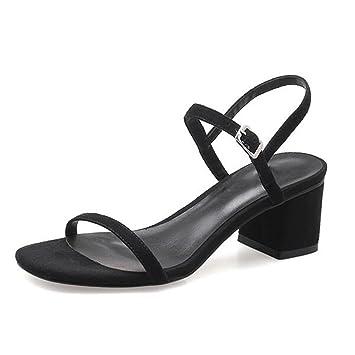 MUMA Escarpin Sandales d'été femmes milieu avec 2018 nouveau noir gris rose nu mots sauvages talons hauts romain épais talon chaussures pour femmes ( Couleur : Rose , taille : EU37/UK4.5-5/CN37 )