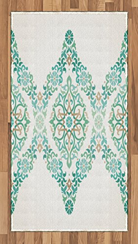 (Lunarable Ethnic Area Rug, Ottoman Mosaics in Tones Royal Revival Victorian Palace Inspired from Retro Imagery Print, Flat Woven Accent Rug for Living Room Bedroom Dining Room, 2.6 x 5 FT, Teal)