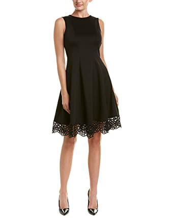 4f213fef1a66 Donna Ricco Women s Women s Round Neck Crochet Hem Fit and Flare Dress at  Amazon Women s Clothing store