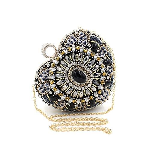 XSWZAQ Mini Heart Beaded Clutch Bag Rhinestone Ring Handbags Evening Party Banquet Dress Cheongsam Bag