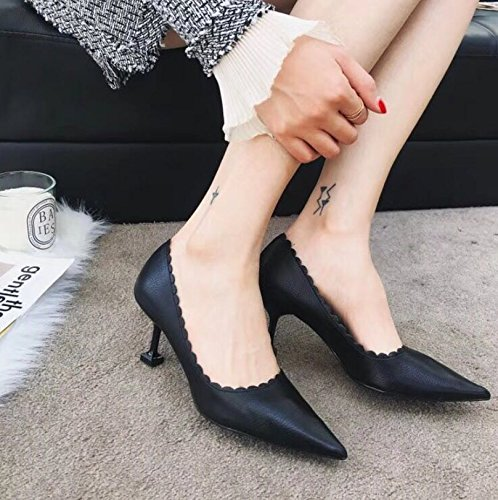 Shoes MDRW Leisure 37 Fashion Fine Work Spring Sharp Heels Shoes Elegant Shallow Shoes Black Single Heels 7Cm Lady Shoes High xWnH4xT