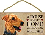 (SJT30101) A house is not a home without an Airedale wood sign plaque 5