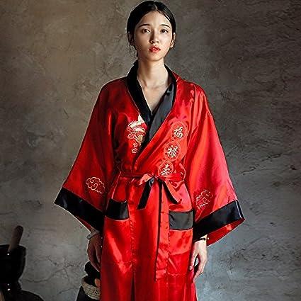 Wanglele The Dragon Robe Embroidered Silk Pajamas Double Color Satin Lace  Embroidery Kimono Dress Gown Bathrobe af937096e