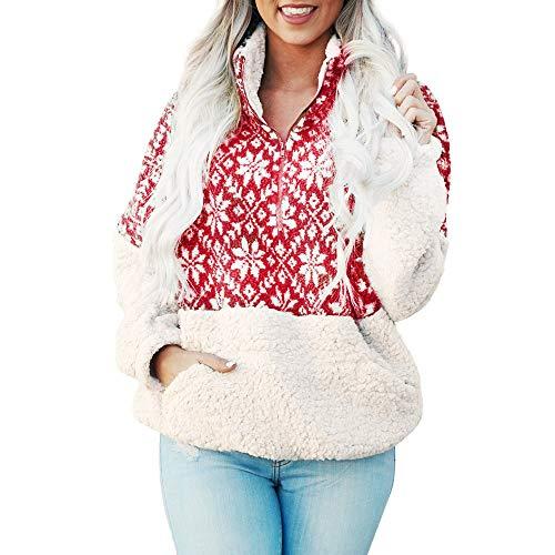 Sweatshirt Tunics for Women Petite, Seaintheson Long Sleeve Zipper Sherpa Pullover Soft Fleece Pullover Outwear Coat Pockets