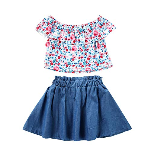 14' Baby Doll Clothes - Girls Kids Skirt Set Off Shoulder Sleeveless Floral Tops+Denim Pleated Tutu Mini Dress Cute Outfits 2Pcs (Light Blue, Recommend Age:6-7 Years)