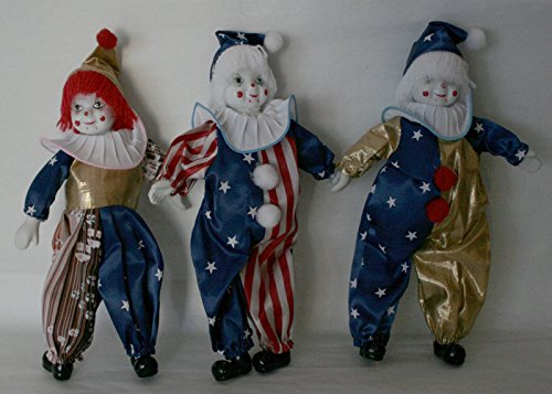 Trio Clown Porcelain Doll 8 Inches with Flag Day Cloth