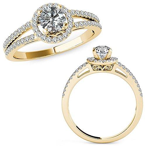 1.07 Carat G-H Diamond Lovely Design Beautiful Halo Anniversary Promise Women Band Ring 14K Yellow Gold ()