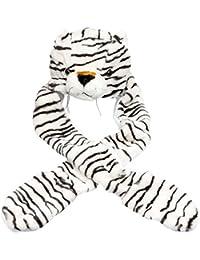 Plush Animal Hat w/ Built-In Mittens (White Tiger)