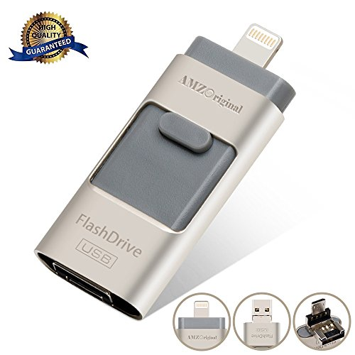 USB Lightening Flash Drive, AMZ Original 3 IN 1 Pen-Drive External Memory Expansion for iPhone iPad IOS Android and PC (16 GB)