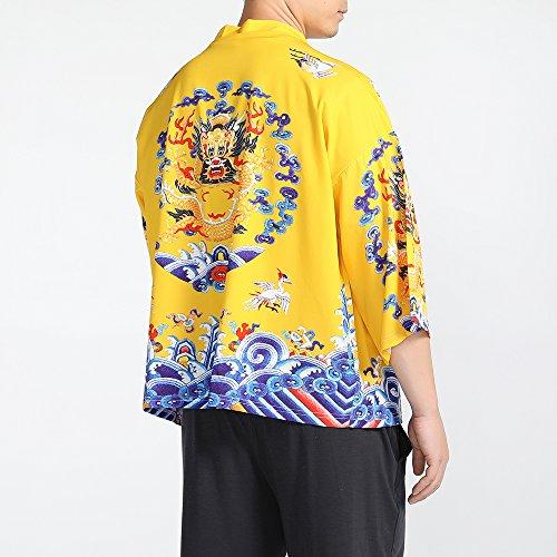 Men Japanese Yukata Coat Kimono Outwear Vintage Loose Top Chinese Dragon by Hao Run (Image #5)