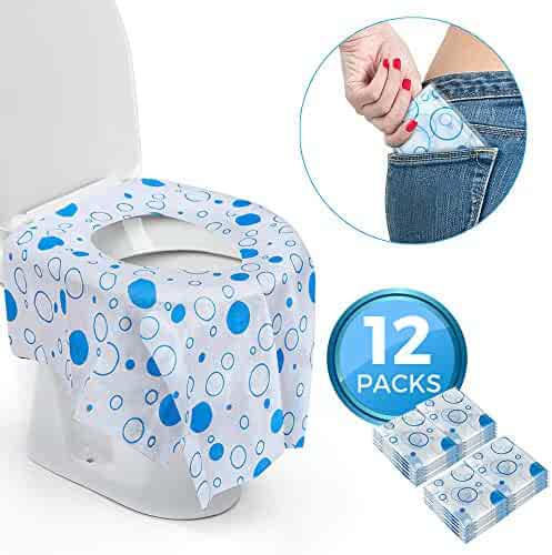 Great for Home Travel Individually Wrapped 20 Pack Green Dots Large Size Potty Seat Cover for Toddlers Waterproof Disposable Toilet Seat Covers for Kids Potty Training Adults Children