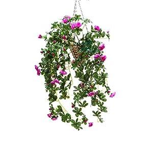 Mynse Artificial Azalea Flower Vine Hanging Flower Basket for Living Room Balcony Decoration, Purple 90