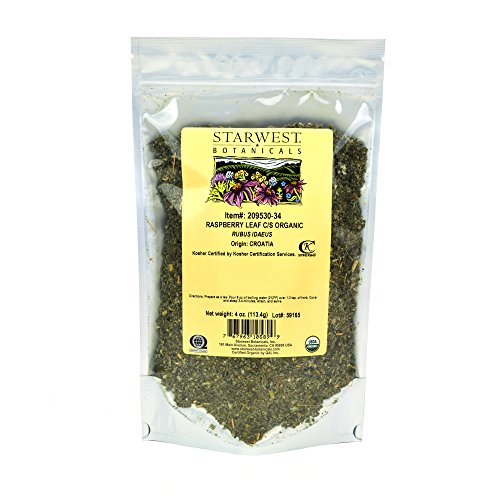 (Starwest Botanicals Organic Red Raspberry Leaf Tea [4 Ounce Bag] Loose Cut & Sifted Raspberry Leaves in Bulk)