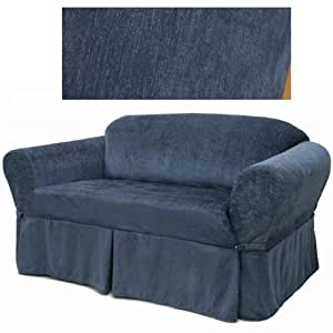 Chenille navy blue furniture slipcover loveseat 231 home kitchen Blue loveseat slipcover
