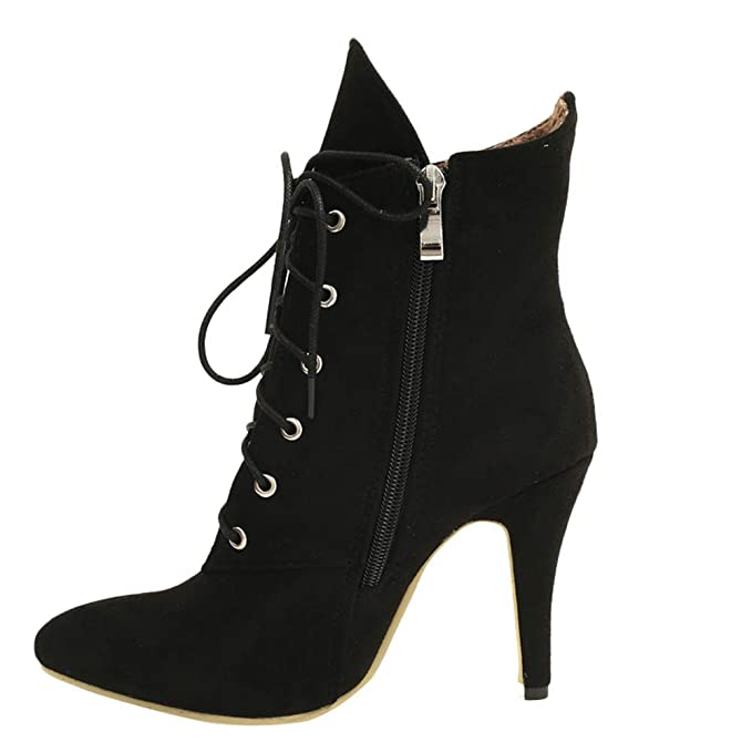 0c12553392ce DENER❤ Women Ankle Boots,Suede Leopard Print Lace up Thin Heels Wide Calf