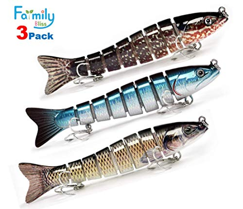 "FARMILY Fishing Lure Hard Bait Swimbait Crankbait - Deep Sea Saltwater Freshwater Topwater Tackle Kit Lifelike Multi Jointed Slow Sinking Bass Trout Crappie Walleye Carp Jig 28.5g/5.3"" 3-Pack"
