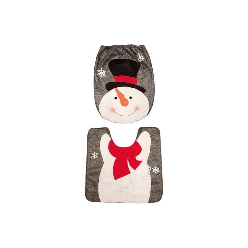 YaptheS 2 Pcs/Set Christmas Holiday Bathroom Snowman Toilet Seat Cover and Rug for Home Decorations Christmas Gift