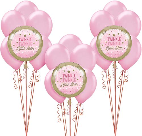 Party City Pink Twinkle Twinkle Little Star Balloon Supplies, Include 15 Latex Balloons, 3 Foil Balloons, and Ribbon -