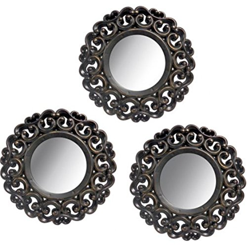 Mainstays 3-Piece Scroll Mirror Set, Black
