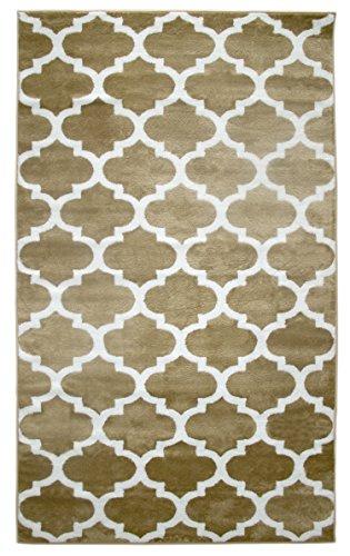 Trellisville Collection Modern Geometric Lattice Trellis Design Vibrant and Soft Area Rug - 5X8 - Beige