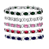 Silver Plated Brass Oval Cut Gemstone Tennis Bracelet 7 inch