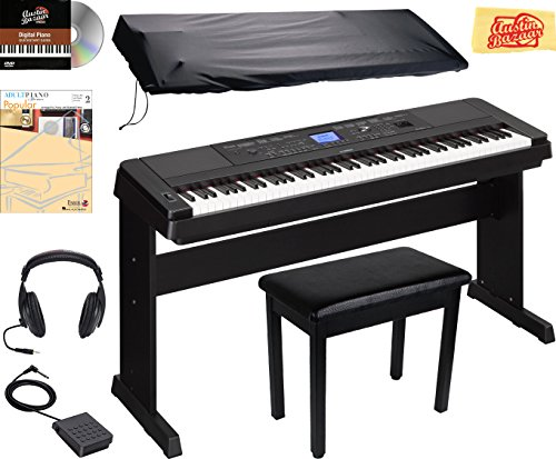Yamaha DGX-660 Digital Piano – Black Bundle with Furniture Bench, Dust Cover, Headphones, Sustain Pedal, Instructional Book, Austin Bazaar Instructional DVD, and Polishing Cloth