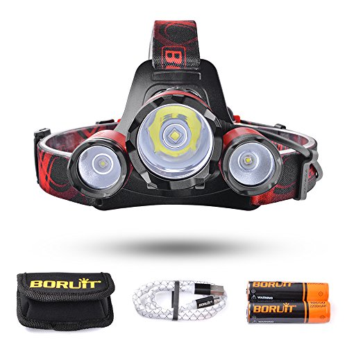 BORUiT Leo 21 LED Headlamp, 4 Modes Headlight, 6000 lumen, As 4400mAh Power Bank, for Running, Camping, Hiking, 2 PCS 18650 Batteries and Cable Included (Red)